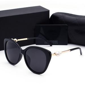 여름 진주 타원형 명품 선글라스 고품질 패션 여성 브랜드 편광 렌즈 태양 안경 안경 안경 금속 프레임 2039
