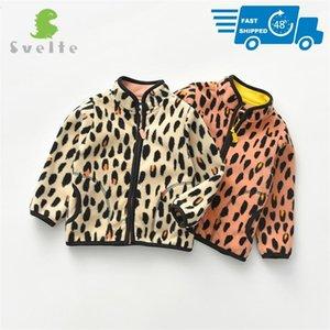 SVELTE для 2-7 YRS малыш и малыш девушка флисовая куртка для весны осенью зимняя одежда с печати леопардовые полосы 201208