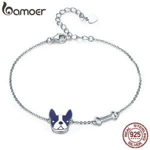 BAMOER caliente de la venta 100% 925 franceses perro dogo hueso langosta Cadena SCB064 Enlace mujeres pulsera de plata joyería