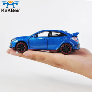 1:32 HONDA CIVIC TYPE-R Diecasts & Toy Vehicles Metal Car Model Sound Light Collection Car Toys For Children Christmas Gift X0102