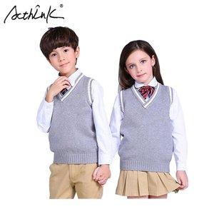 Acthink New Goys Pullover Colete School School Crianças V-pescoço de lã vestido de lã para meninas crianças cai / inverno camisola de malha, C322 Y200831