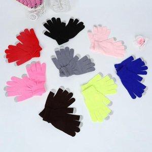 Luvas tela toque quente estiramento Knit Mittens Mulheres Homens completa do dedo luvas Big crianças Mitten Inverno Acessórios 18 Cores FWC2549