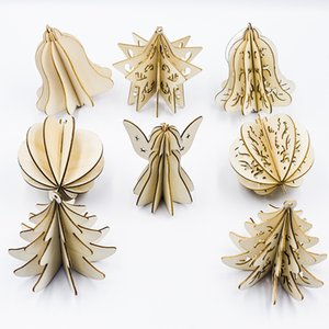 16pcs lot Wood Slices Splicing DIY 3D Christmas Pendants Ornaments with Hang String Xmas Tree Hollow Pendants Home Party Decorations