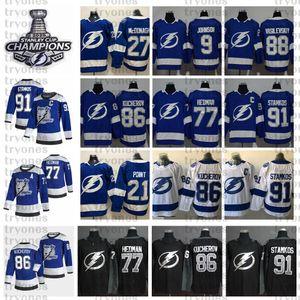 2020 Stanley Cup Champions Tampa Bay Relâmpago Steven Stamkos Nikita Kucherov Victor Hedman McDonagh Johnson Vasilevskiy Point Hockey Jersey