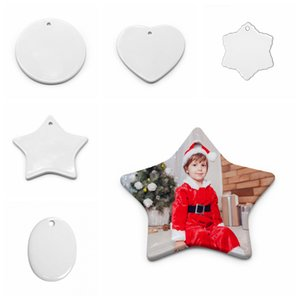 Blank White Sublimation Ceramic pendant Creative Christmas ornaments Heat transfer Printing DIY ceramic ornament heart round decor FFA4501