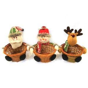 Christmas Candy-Speicher-Korb Bambus-Weihnachtsgeschenk-Halter Korb Weihnachtsmann-Speicher-Korb-Geschenk-Weihnachtsdekoration
