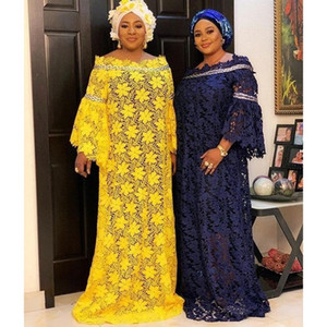 African Dresses For Women Africa Clothing Muslim Long Dress High Quality Length Fashion African Lace Dress For Lady With Headtie