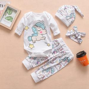 4pcs set Baby Cartoon Rompers Set Kids Rainbow Unicorn Dinosaur Letter Printed Designer Clothes Include Rompers Pants Hat Headbands HHA577