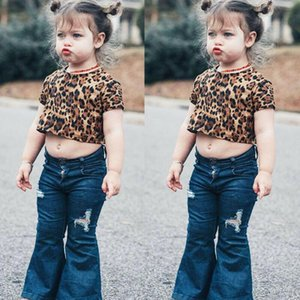 Toddler Baby Girl Leopard Clothes Short Sleeve Top Flared Denim Pants Outfit Set