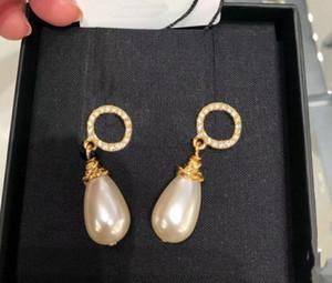 Natale Moda Orecchini perla cerchio Orecchini di partito signora delle donne amanti aggancio di cerimonia nuziale regalo gioielli per la sposa con la scatola.