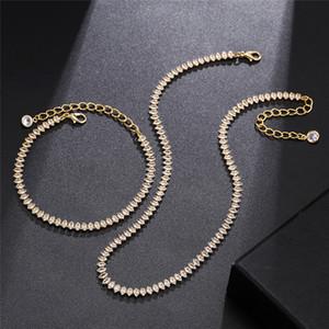 Ожерелье Новые Hotsale 18K желтое золото гальваническим Блестящая CZ Кристалл теннис браслет для девочек женщин для партии Wedding Hot Gift