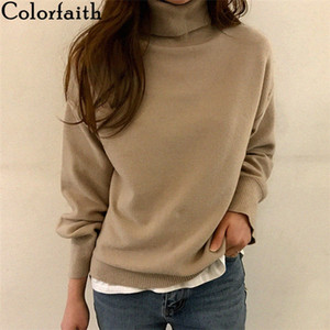 Colorfaith new autumn winter 2020 high collar women's sweater hot minimum Korean style top, sewn by Ms.008