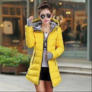 Barato Wholesale outono inverno magro para baixo jaqueta de algodão feminino médio longo espessamento com uma capa luvas mulheres wadded casaco