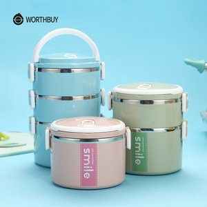 WORTHBUY Stainless Steel Thermal Lunch Box With Microwave Container Japanese Bento Lunch Box For Kids Fruits Food Containers C0125