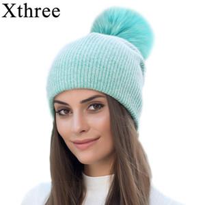 Xthree nova e simples do inverno da pele Beanie Hat com Real Fur Pom Pom Hat para as Mulheres colorido Skullies Aqueça Cap Feminino