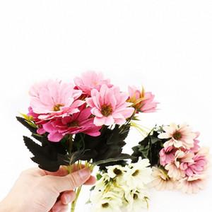 1 mazzo di fiori artificiali Bouquet fiori di seta falso foglie di fiori di primavera Daisy sposa per la tavola Decorazioni partito puntelli Hvbd #