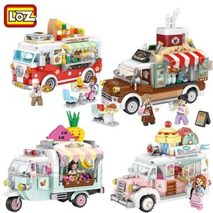 LOZ MINI Blocks City Street View Series Frutas / Sorvete / Pizza / Coffee Shop Vendendo Turcks Engraçado Pressão Relief Toys C01199