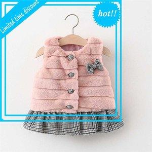 2020 Wintermädchen Kinder Fürsten Warme Faux Pelz Kinder Baby Kürbisse BOOG Plaid Patchwork Weste Uitloper Casaco S11378