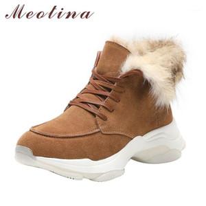 Meotina vache daim plate-forme plat cheville bottines femmes bottes courtes chaussures à lacets en cuir véritable doublure de fourrure chaleureuse dames winter1