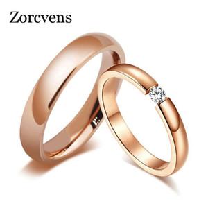 Trendy luminoso 585 Rose Gold Tone anelli di fidanzamento per Coppie in acciaio inossidabile con Wedding Bands pietra della CZ delle donne degli uomini
