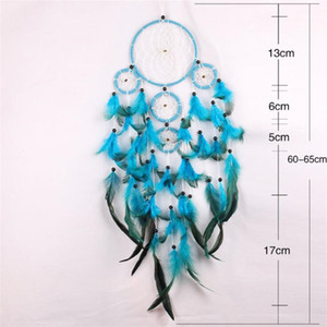 Handmade Dream Catcher Wind Chime Net Net Piuma Naturale Rendi la casa Arredamento per la casa Decorare la parete blu appesa delicata Nuovo arrivo 11 5JY M2