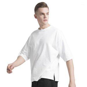 Мужские футболки 200 GSM 100% хлопчатобумажные футболки мужчины, случайные круглая падение плеча сплошная уличная одежда хип-хоп футболка1