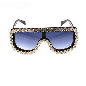 Women Vintage Designer Fashion Super Frame Windproof Square Crystal Sunglasses Cool Glasses