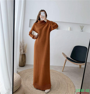 Extra Long Sweater Dress Women Autumn And Winter High-neck Long Sleeve Knitted Bottoming Dress Thick Shirt Femme Robe F2618
