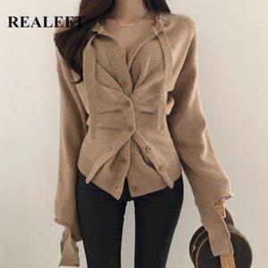 ReaLeft inverno irregular Único-breasted camisola feminina estilo coreano manga comprida botão decoração senhoras cardigan feminino