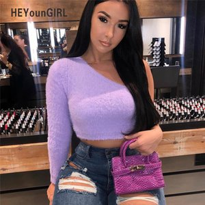 Furry Off the Shoulder Tops for Women T Shirt Sexy Long Sleeve Crop Top Korean Streetwear Tee Shirt Women Autumn 2020