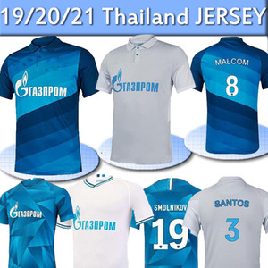 20 21 FC Zenit St. Petersburg Fußball Jersey Home Away Blue Grey Malcom Lovren 2020 2021 Santos Barrios Football Hemd Maillots de Foot Thai