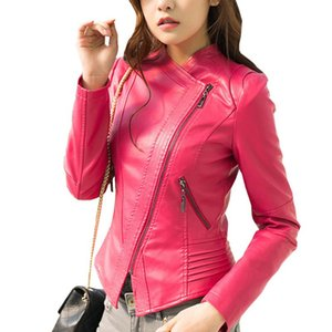 Primavera Outono PU Leather Jacket Brasão Mulheres Chic Fashion curto magro Pink Ladies Blue Black Motorcycle Clothing Casacos Overcoat