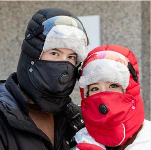 Kayak Av Şapka DDA710 Walking Kış Trapper Trooper Şapka Windproof Gözlük Sıcak Katı Renk Maske Kürk kulaklıklı Doğa Sporları