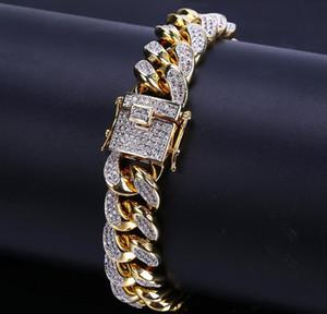 Bijoux Miami Bracelet Hop Zirconia Rapper CZ Boys Out White Chain Link Cadeaux 10 Curb 14 18 Mm 18K Gold Hip pour Glace Gold Cuban SQCMM