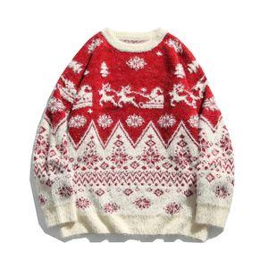 Camisola do inverno blusas de Natal Sweater Homens Mulheres Rodada Neck Knitwear Homens para Blue Man Red