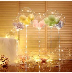 LED Balonlar Işık Dize Aydınlık Şeffaf Bobo Balon Standı Çocuklar Favor Oyuncak Düğün Doğum Günü Partisi Için Olarak Dekorasyon Dekorasyon