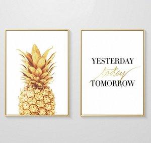 Вчера Сегодня Завтра Золотой ананас холст картины Wall Art Poster Картины для гостиной Home Decor No Frame Херб #