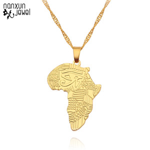 Hip-hop Style Africa Map Pendant Necklaces Gold Color Egyptian Pharaoh Eye Chain Women men Necklace Jewelry Gifts