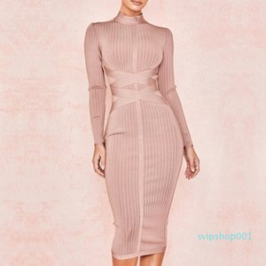 new Newest Fashion Celebrity Party Bodycon Bandage Long Sleeve O-Neck Elegant Sexy Night Out Club Dress Women Vestidos free shipping