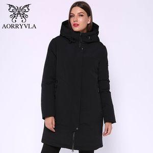 Aorryvla Marka Kadınlar Kış Parka Kadın Ceket Koyu Gri Kapşonlu Uzun Ceket Biyolojik Aşağı Sıcak Kış Ceket Sıcak Model 210202