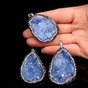 Natural stone Blue quartz crystal Stone Pendant agates Druzy pendulum charm Necklace pendants jewelry making Reiki Healing Gift