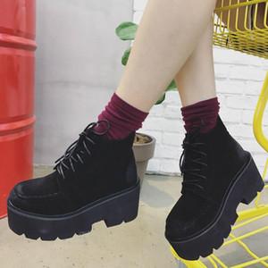 Black Punk Rivets Platform Boots Women Lace up Heel Increasing Boots Women Faux Suede Goth Y2K Shoes