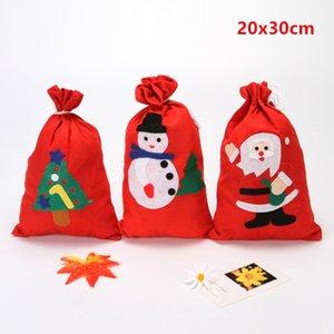 Rouge Noël Jouet Arbre de bas Bonhomme de neige flocon de neige Bonbons Porte-cadeaux de Noël Fournitures de Noël Sac cadeau Drawstring T3I51243