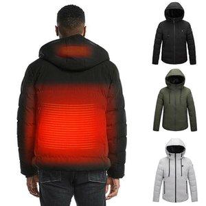 URSPORTTECH USB électrique chauffant chaud Parka à capuche pour hommes Veste d'hiver rechargeable chauffage Manteau Veste thermique ski Outwear 5XL