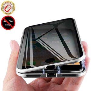 Estojo de protecção completa para iPhone dupla face de vidro temperado de Absorção Magnetic metal Bumper Quadro Anti-Spy Caso privacidade Telefone