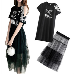 2 Piece Set 2019 Summer Women Lace Cold Shoulder Cotton T shirt Dress Mesh See Through Skirt Suits Letter Print Sweet Sundress