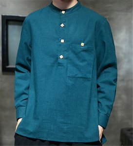 Autumn Chinese style cotton and linen shirt men's jacket casual loose fashion disc button all-match
