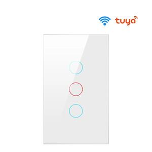 Interrupteur mural WiFi de TUYA US UE, interrupteur de lumière intelligente, interrupteur de prise de verre à écran tactile 1/2/3 Travail de gang avec Alexa Google Home