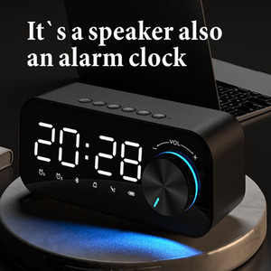 Haut-haut-parleur Bluetooth d'horloge miroir avec réveil lumineux Haut-parleurs portables sans fil Subwoofers Soundbox Supporte TF Carte MP3 Music Player