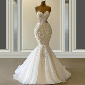 Vestido De Novia Graceful Mermaid Wedding Dresses Sweetheart Neck Luxury Beaded Bridal Gowns Custom Made 2021 Robe De Mariee